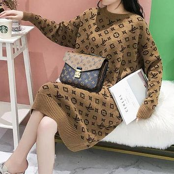 LV Louis Vuitton Shoulder Bags thick sweater women loose mid-length low round neck alpaca fleece skirt