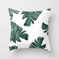 Banana Leaf Watercolor Pattern #society6 Throw Pillow by 83oranges.com | Society6