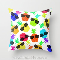 Pineapple Fruit 16x16 Decorative Pillow Cover Couch Art Ananas Bright Hot Pink Neon Orange Green Yellow Purple Blue Teal Shades Sunglasses