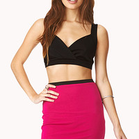 FOREVER 21 Show Off Combo Dress Black/Fuchsia Large