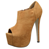 Womens Ankle Boots Suede Peep Toe Platform High Heel Shoes Brown SZ