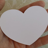 100  Large (3x2.5) Heart Wish Tags, Large White  Heart,  Bride and Groom Advice Cards, Wedding Die Cut Heart
