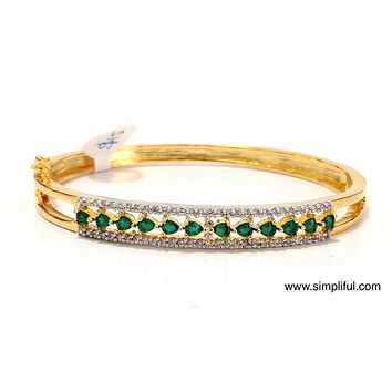 3 line designer CZ Bangle Bracelet