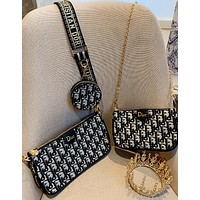 Dior mahjong bag three in one soft fabric + pure steel hardware A bag of multi-purpose small capacity zero wallet, large capacity mahjong bag THREE PIECE