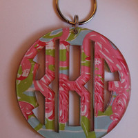 Adorable acrylic monogrammed keychains made with Lilly Pulitzer Fan Dance print