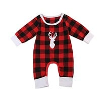 Baby Boys Buffalo Plaid Deer Jumpsuit