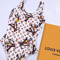 Bunchsun Louis Vuitton LV One Piece Suit Print Monogram Vest Type Bikini