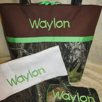 Handmade mossy oak camo camouflage lime green diaper bag wipes case and burp cloth