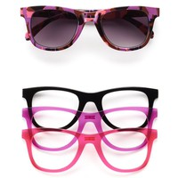 SO Abstract Snap-Front Retro Square Sunglasses - Women