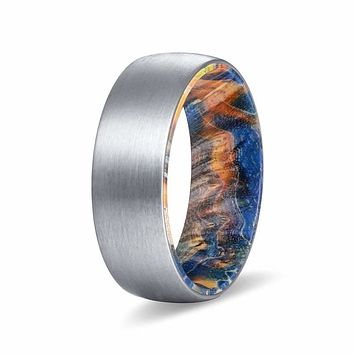 EHAN 8MM Men's Brushed Tungsten Ring  with Blue/Yellow Box Elder Wood Sleeve