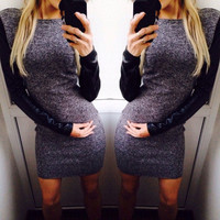 2015 Fashion Sexy Autumn Winter Women Long Sleeve Bodycon Casual Dress = 1956770052
