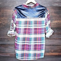 Final Sale - Button Up Plaid Shirt with Dazzling Blue Sequins