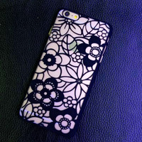 Vintage Black Lace Floral Case Cover for iphone 5s 6 6s Plus Gift 226