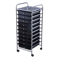 Costway 10 Drawer Rolling Storage Cart Scrapbook Paper Office School Organizer Black - Walmart.com