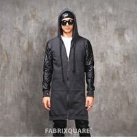 Vlad Quilted Leather Sleeve Mega Extended Cotton Fleece Hoodie with Armwarmer