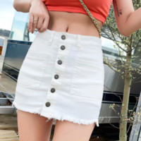 Summer high waist buckle skirt trousers stretch denim skirt female Slim thin bag hip skirt