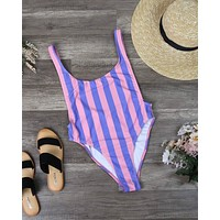 Motel - Goddess One Piece Bikini in Fairground Stripe
