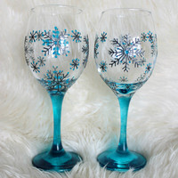 Wine Glasses, Wedding,  Anniversary glasses, Hand painted, Set of 2, Snowflake design