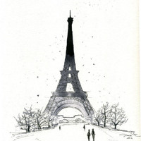 Watercolor and Pen - Paris in the Winter print