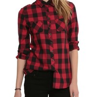 Black And Red Plaid Girls Woven Top