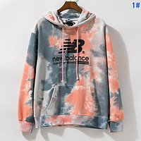 New Balance Autumn Winter Women Men Tie-Dye Hoodie Cute Sweater Sweatshirt 1#