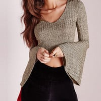 Khaki V-Neck Bell Sleeve Crop Top