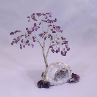 Amethyst Gem Tree on Keokuk Geode, metaphysical, feng shui, gemstone tree sculpture