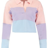 Colour Block Rugby Crop Top | Boohoo
