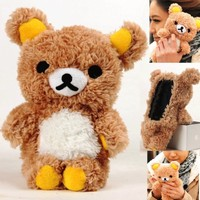 Authentic iPlush Plush Toy Cell Phone Case for HTC onex HTC t328d HTC t328w HTC lt26i (Brown Bear)