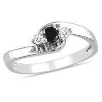 Black and White Diamond Fashion Ring in Sterling Silver