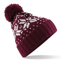 Beechfield Unisex Fair Isle Snowstar Winter Beanie Hat (One Size) (Burgundy / White)