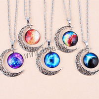 Hollow Moon Glass Galaxy Pendants Silver Chain Statement Necklaces Women Men Fashion Jewelry Charms Accessories Choker