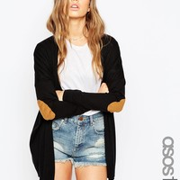 ASOS TALL Swing Cardigan With Oval Tan Suedette Elbow Patch