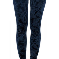 Dark Blue Embossed Velvet Leggings Design 118