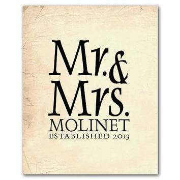 Mr. & Mrs. - Customizable wedding gift - Personalized Wedding Art - Typography - Ampersand - vintage, chalkboard, distressed - print