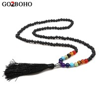 Go2boho Dropshipping Supplier Buddha Necklace Women 7 Chakra Volcanic Stone Statement Necklaces Prayer Meditation Beads Jewelry