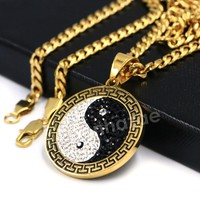 316L Stainless Yin and Yang Blinged Out Pendant w/ 4mm Miami Cuban Chain