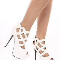 White Faux Leather Cutout Sexy Heels