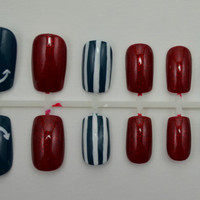 """Artificial Nails - """"Way Overboard"""" -  Nautical Nails, Dark Teal, Red,& White, Hand Painted, Fake Nails"""