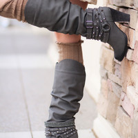 Charcoal Grey Diamonds & Studs Boots