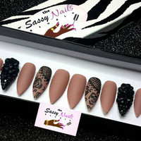 Sassy Glue On Nails: Matte Nude Stiletto Nails With Handpainted Lace And Jet Black Crystals press on nails,  handpainted nails, false nails