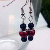 Red and black beaded drop earrings/ Red drop earrings/ Drop earrings/ Handmade/ Women's/ Red/ Black/ Silver/ Beaded earrings/ Red and silver