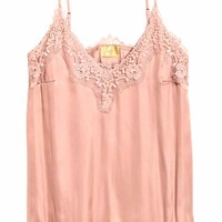Satin strappy top with lace - Powder pink - Ladies | H&M GB