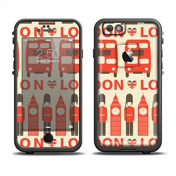 The Vector Tan and Red London Apple iPhone 6 LifeProof Fre Case Skin Set