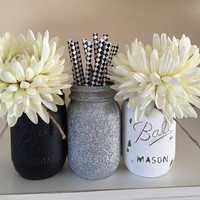 Black, White Distressed and Silver Glitter Mason Jars, Distressed Painted Mason Jars, 5oth Birthday Party Decor, Wedding Centerpiece, Vases.