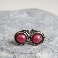 Burgundy Pearl Studs, Stering Silver Wire Wrapped Earrings, Freshwater Pearl Jewelry