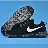 NIKE Women Men Running Roshe Sport Casual Shoes Sneakers Starry sky Black white hook