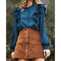 Final Sale - Corduroy Button Down Mini Skirt with Pockets in Brown
