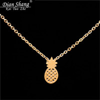 DIANSHANGKAITUOZHE Boho Jewelry Pineapple Necklaces Pendants Chokers Gold Chains Silver Bijoux Statement Necklace For Women BFF