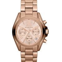 Michael Kors Mid-Size Rose Golden Stainless Steel Bradshaw Chronograph Watch